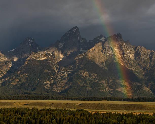 Teton Range and Rainbow stock photo