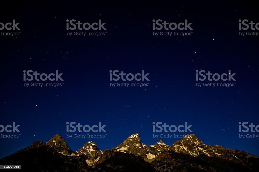Teton Range and Stars stock photo
