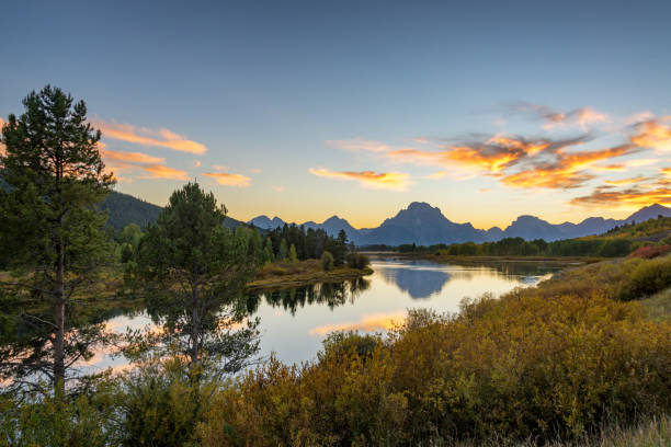 Teton Range Sunset Landscape stock photo