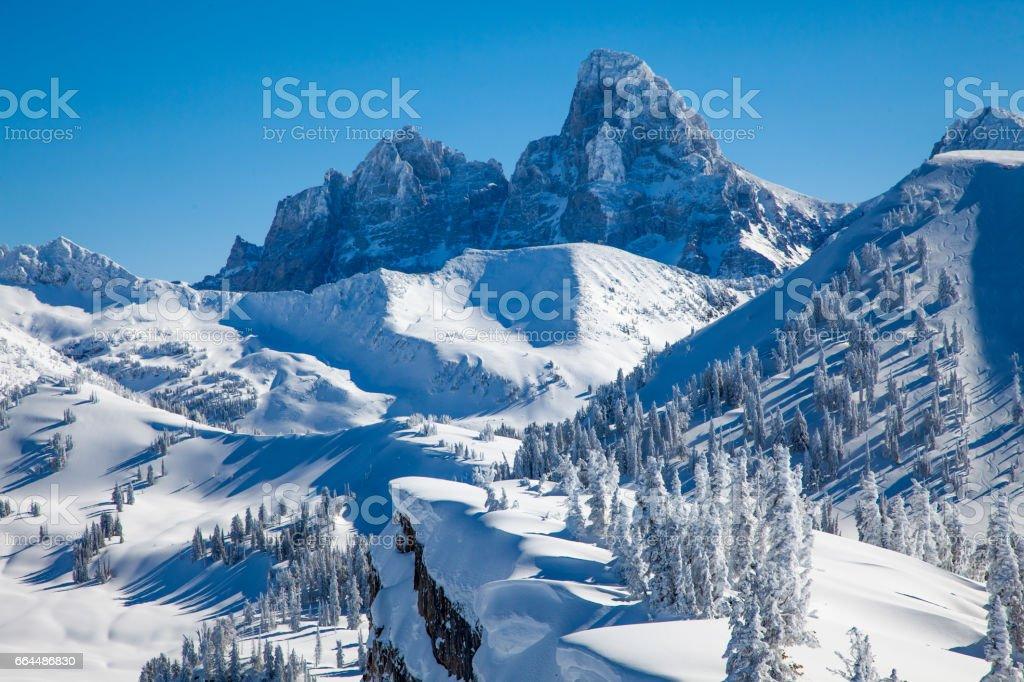 Teton Range viewed from Grand Targhee stock photo