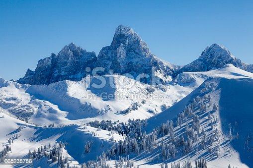 Teton Range in winter viewed from Grand Targhee, Wyoming, USA