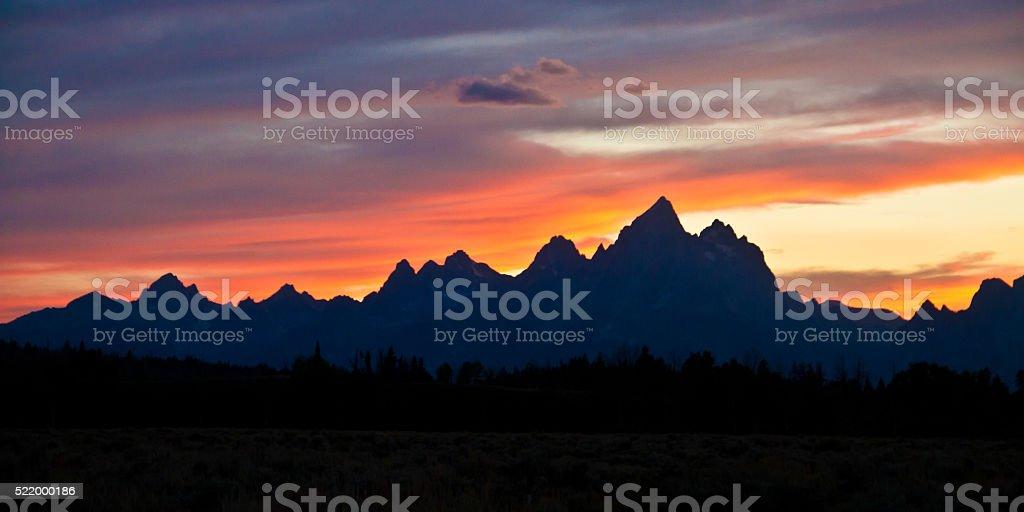 Teton Sunset I stock photo