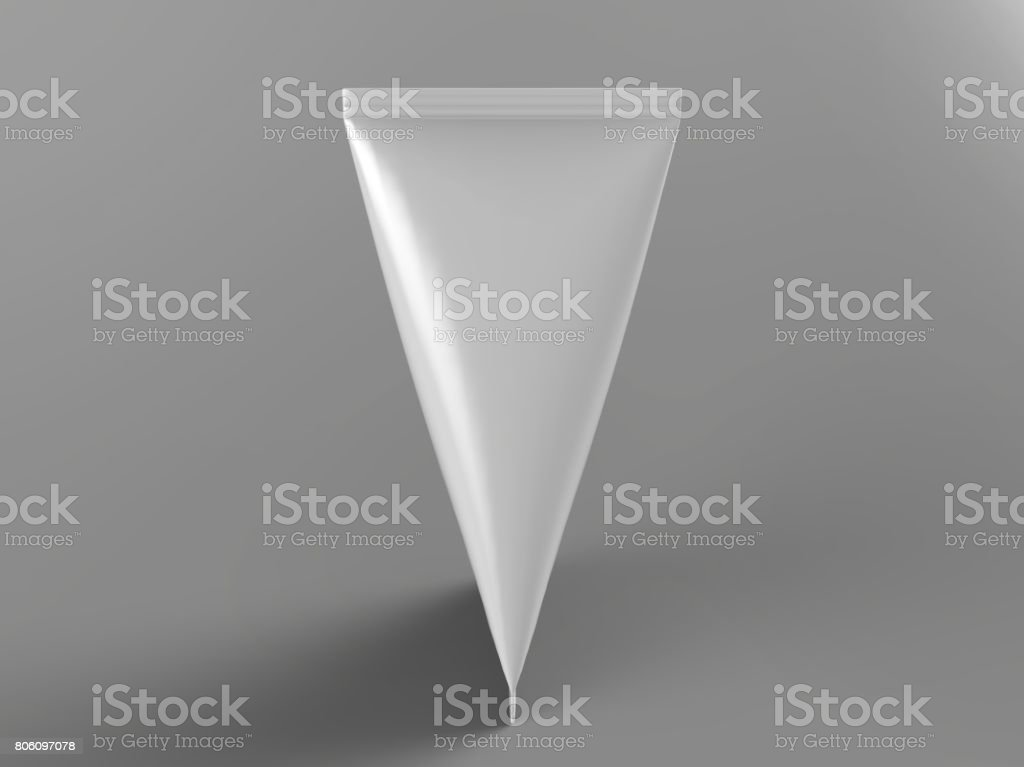 Tetrahedron slim and small white blank milk, juice, tea, coffee and liquid product carton package Realistic Rendering ready for print design and mock up template. 3D Illustration stock photo