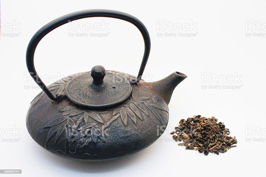 Tetsubin and Loose Tea royalty-free stock photo