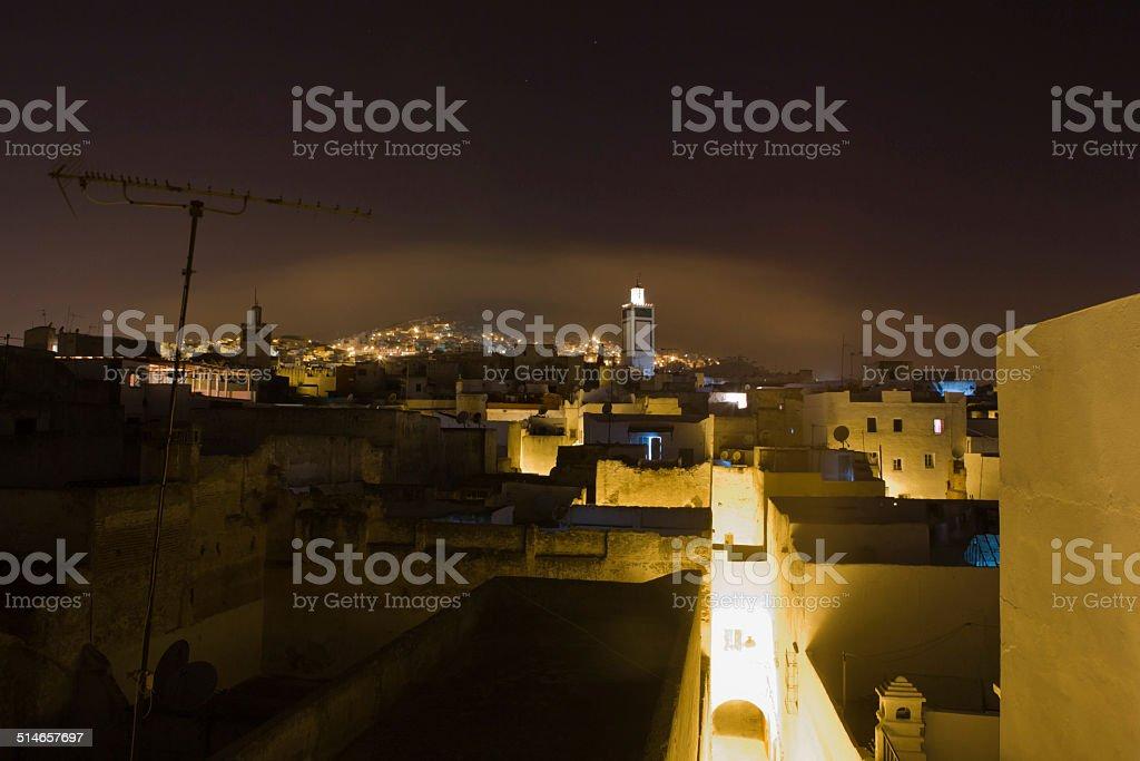 Tetuan at night, Morocco stock photo