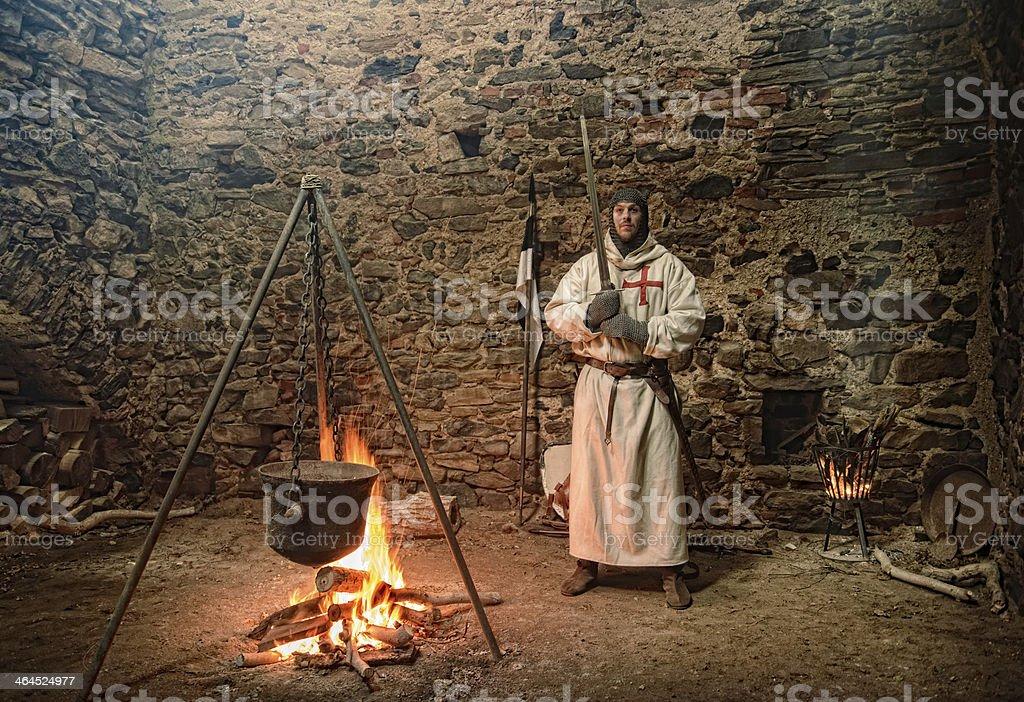 Teutonic knights at the campfire stock photo