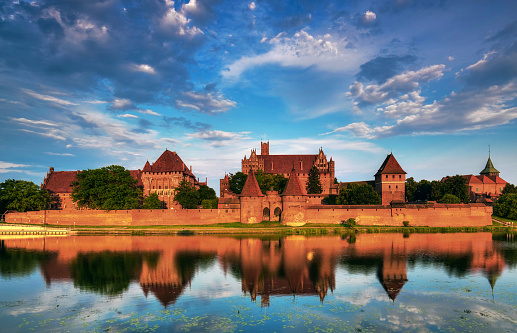 Teutonic Knights in Malbork castle in summer