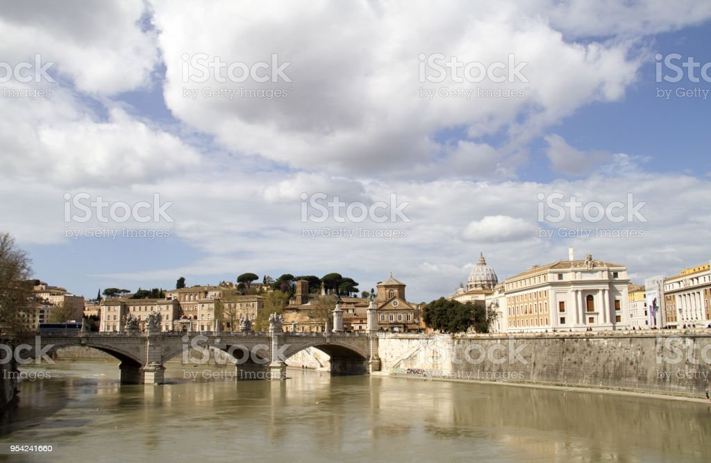 tevere river rome stock photo