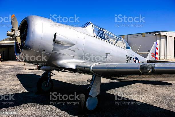 Sarasota, FL, USA - March 6, 2016: WW2 AT-6 Texan advanced trainer plane at Sarasota SRQ in Florida