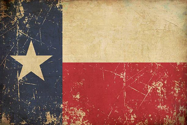 texan old flat flag scratched & aged - rostrot stock-fotos und bilder
