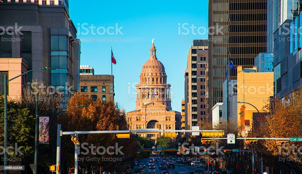 Texas Capital Building from South Congress Bridge stock photo