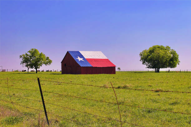 Texas farm and barn stock photo