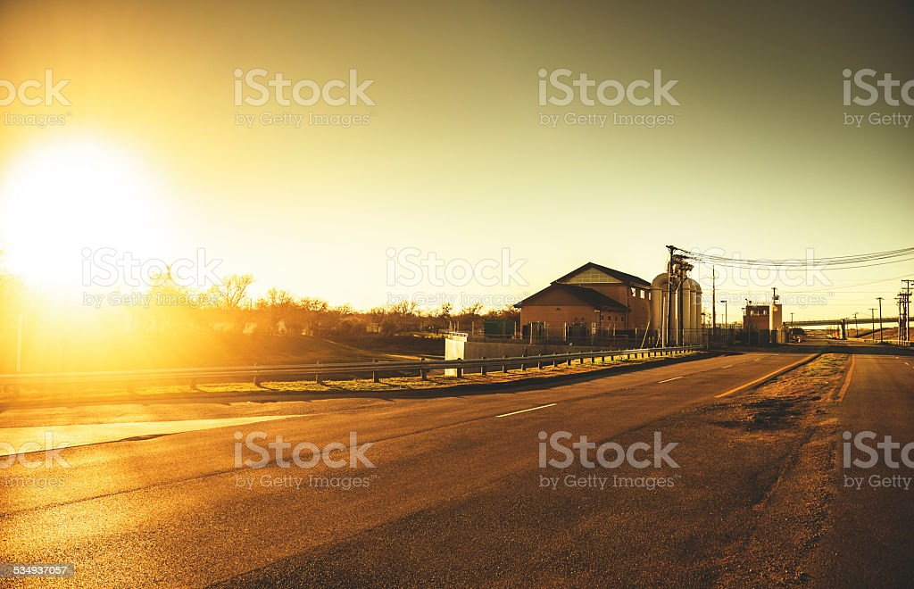 Texas farm at sunset in dallas stock photo