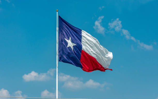 Texas flag in wind with sky stock photo