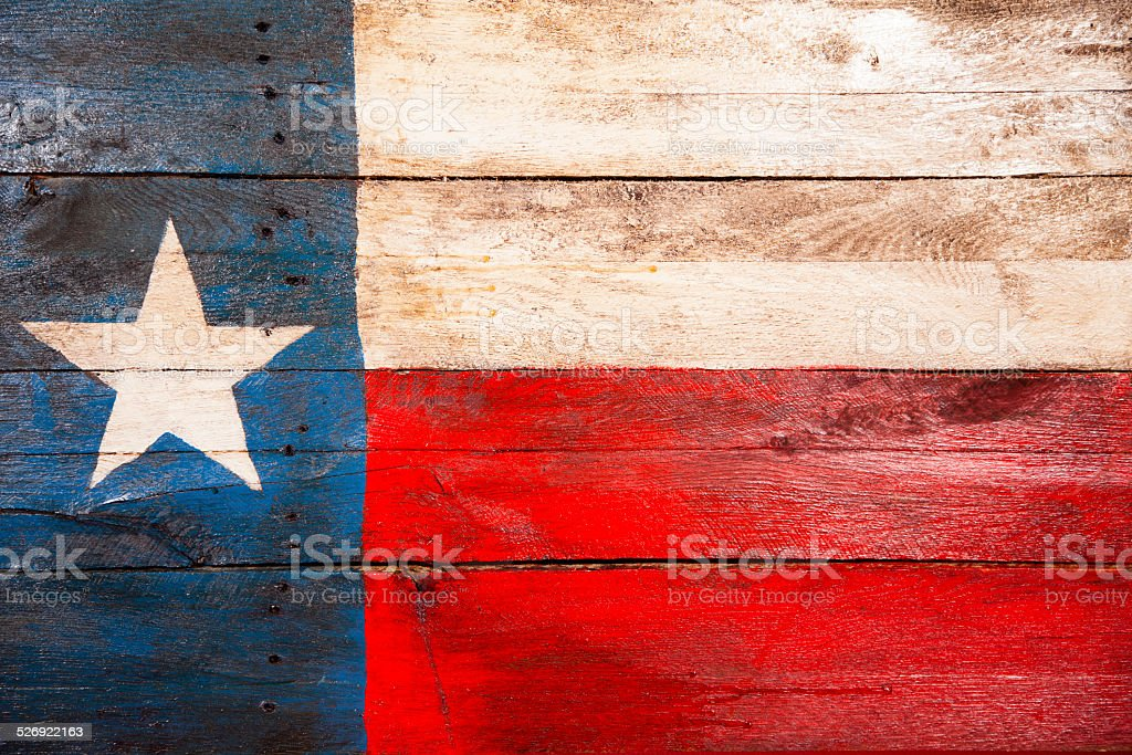 Texas flag made of old wooden boards. Painted. Rustic. stock photo