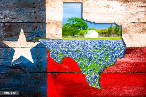 Rustic Texas, USA flag created from old wooden boards that have been painted red, white and blue.  A lone star to left. The state of Texas as a cut-out is in center with an image of  bluebonnet flowers on a farm in background. The bluebonnet is the Texas state flower.