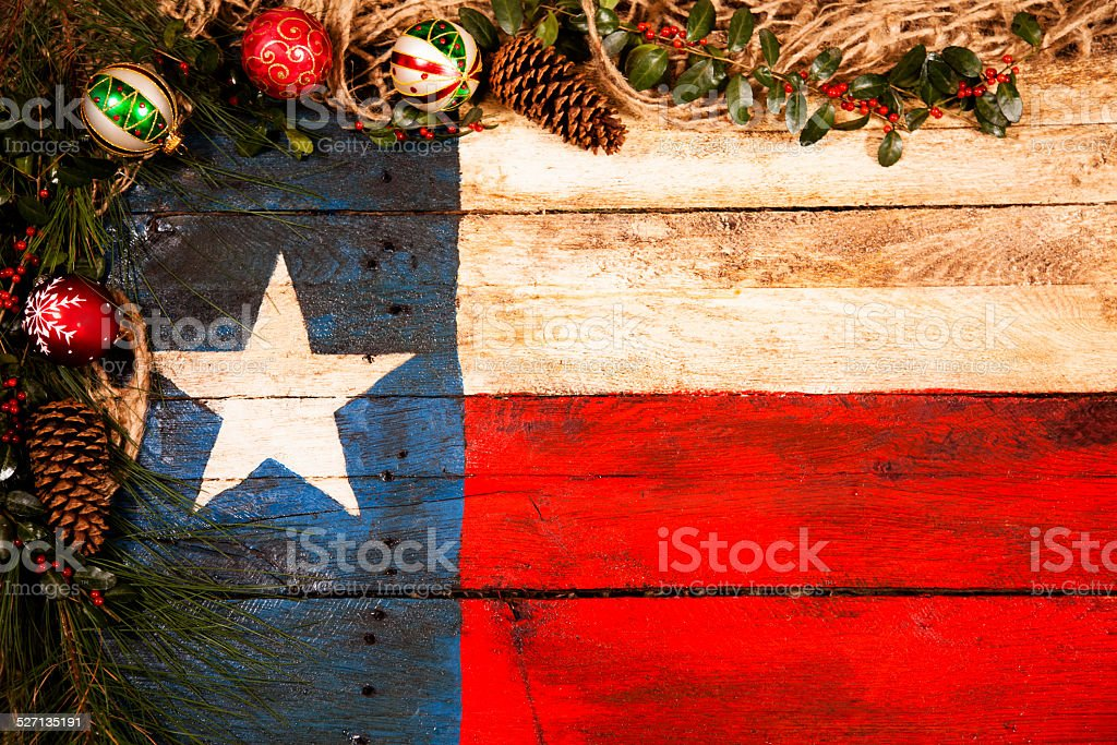texas flag wooden christmas decorations pine cones ornaments holly garland - Texas Christmas Ornaments