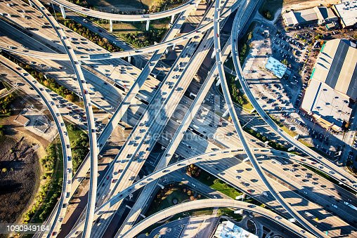 A freeway interchange with Interstate 10 just outside of Houston, Texas from an altitude of about 1500 feet.