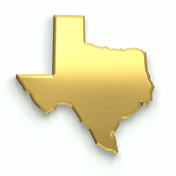 Texas d'oro mappa. Illustrazione Rendering 3D - foto stock