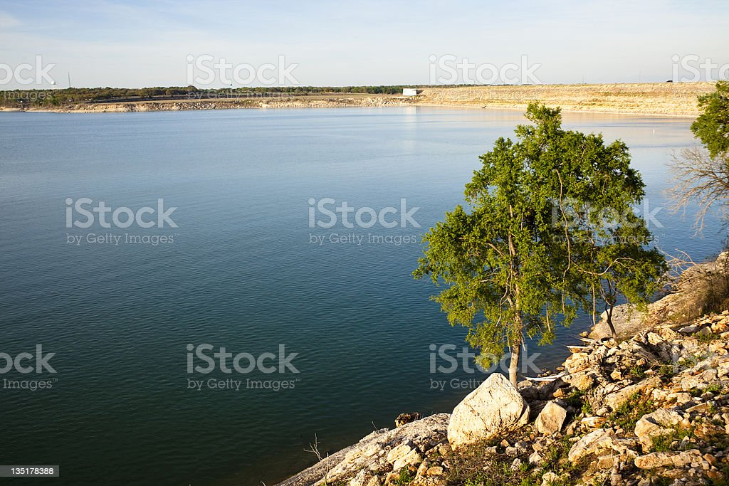 Texas Hill country lake view in late evening. royalty-free stock photo