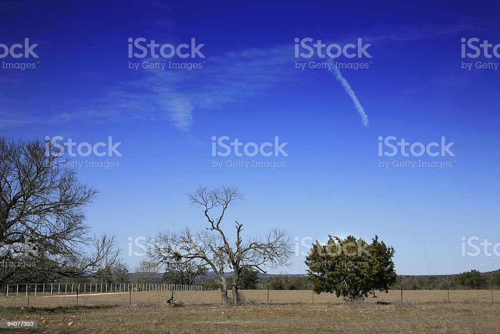 Texas Hill Country pasture and sky royalty-free stock photo
