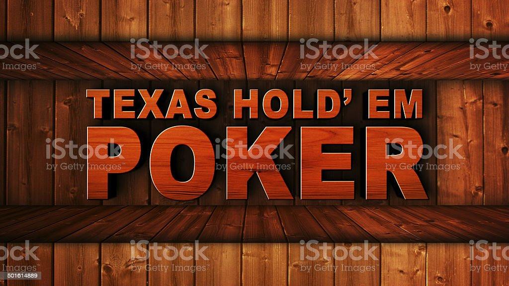 Texas Hold'em Poker Wood Text stock photo
