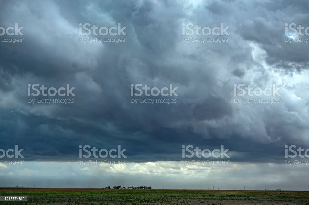 Texas horizon with storm clouds stock photo