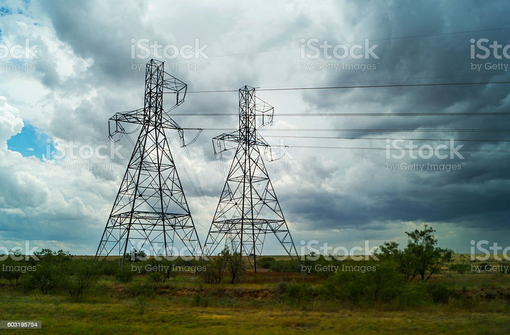 Texas landscape with storm weather and power lines stock photo