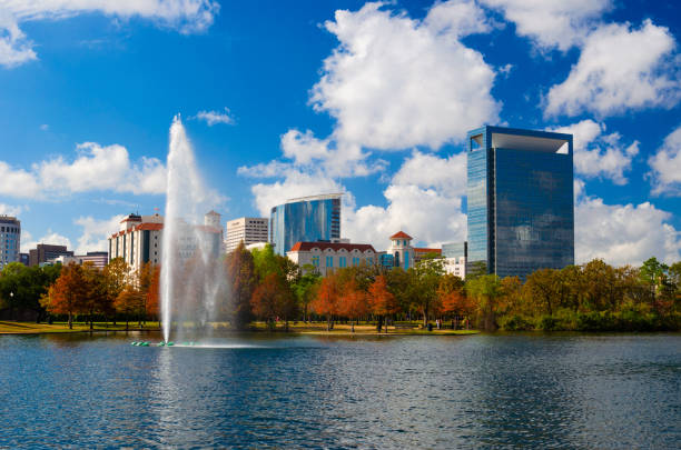 Texas Medical Center And Hermann Park In Houston During Autumn stock photo