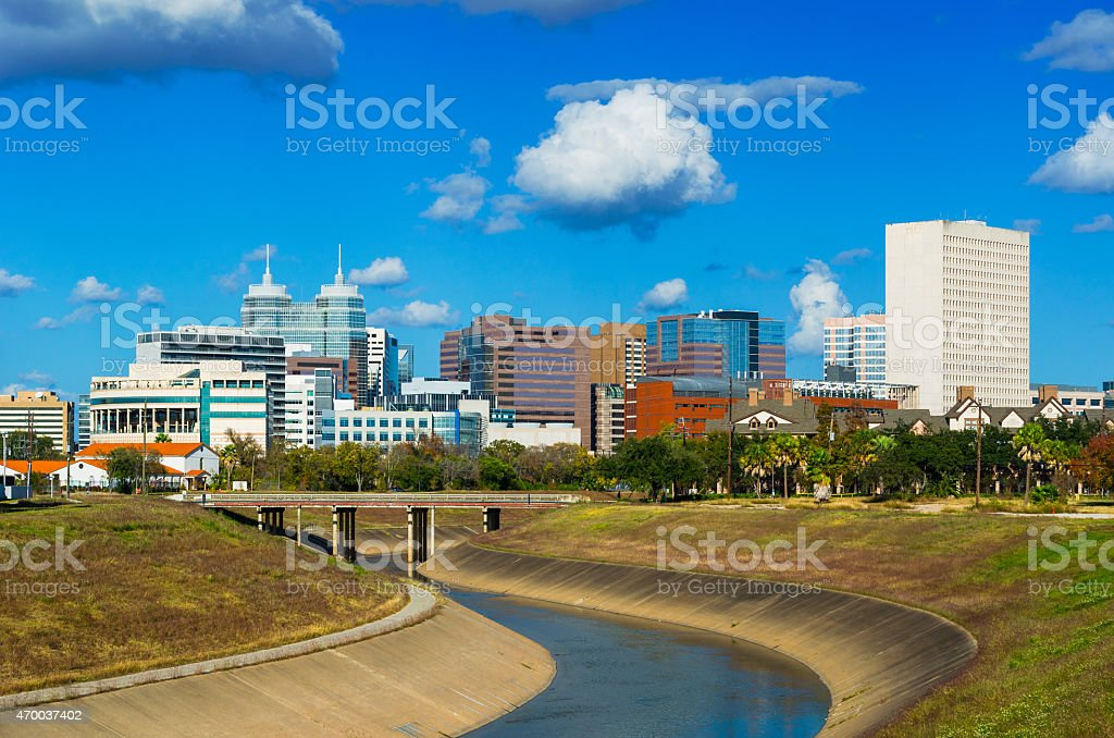 Texas Medical Center skyline and clouds stock photo