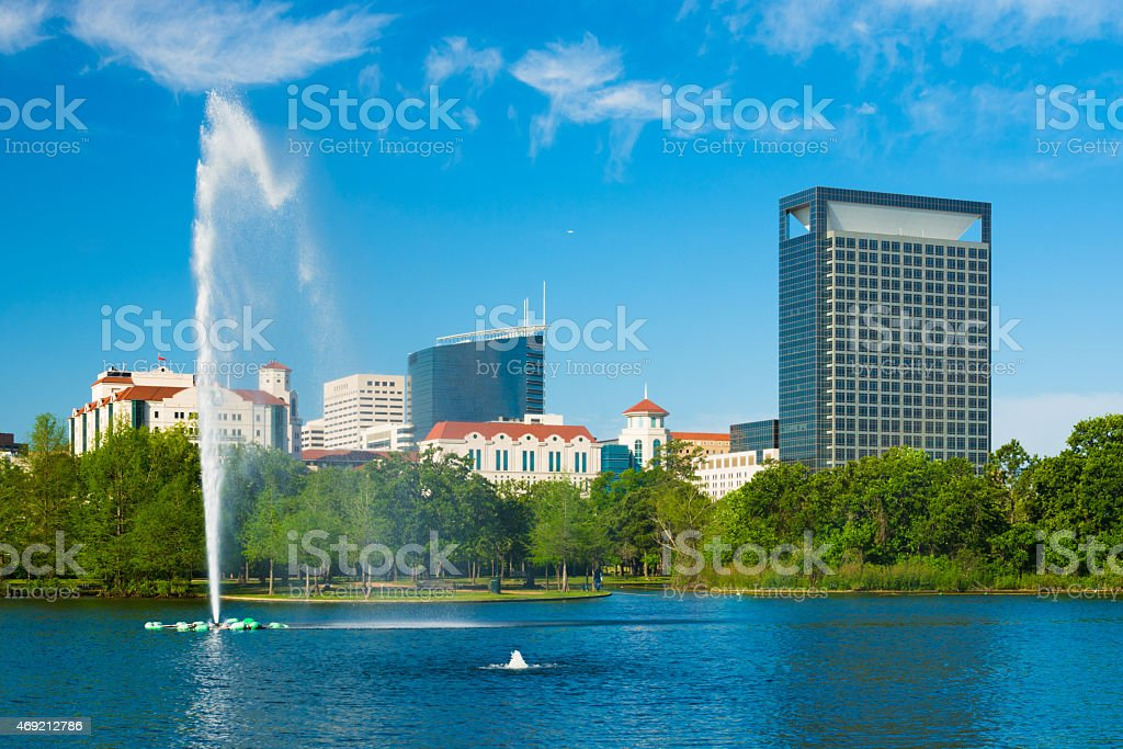 Texas Medical Center skyline and Hermann Park in Houston stock photo