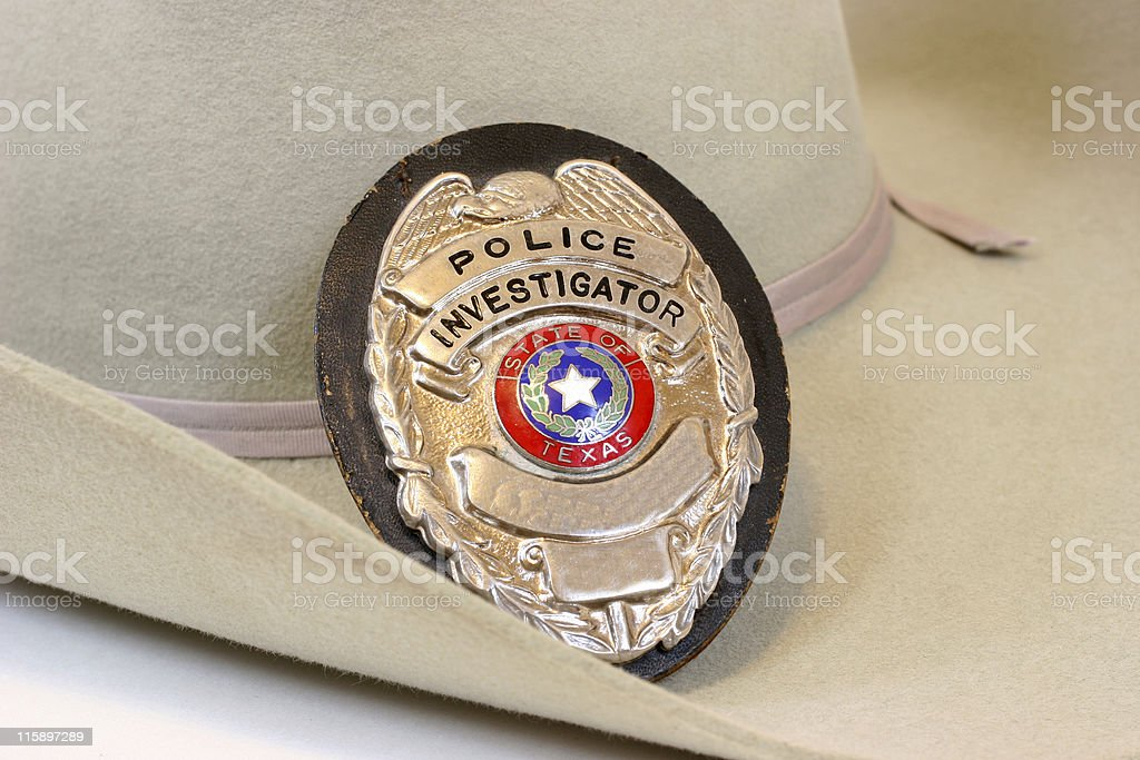 Texas police, shield, badge. Cowboy hat. Investigator. stock photo
