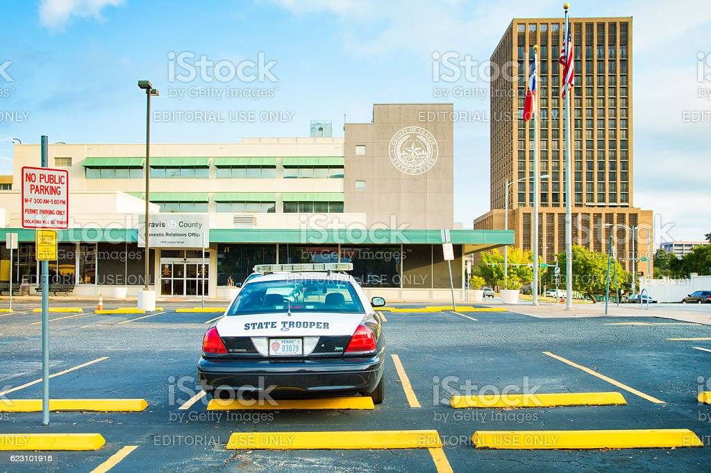 Texas police station with parked trooper car stock photo