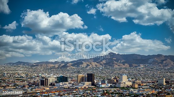 Clouds and blue skies over El Paso, Texas and Juarez, Mexico.