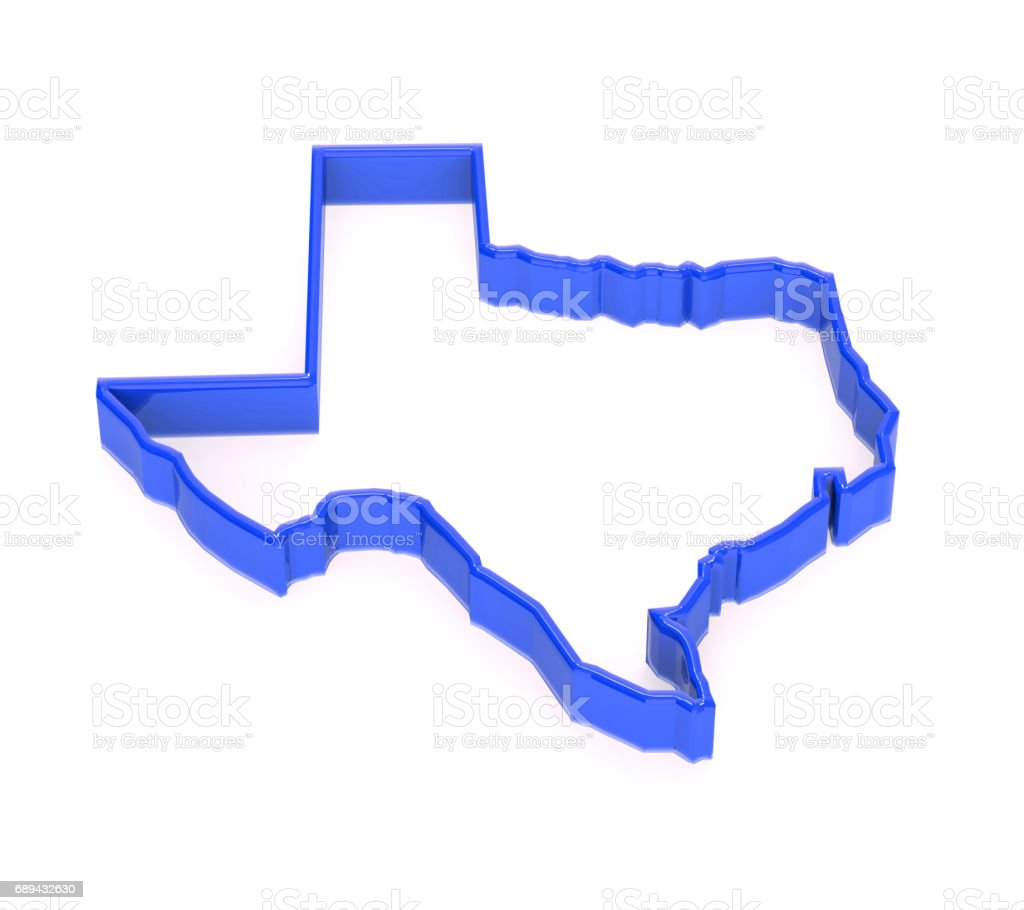 Texas State Border Map. 3D Rendering Illustration stock photo