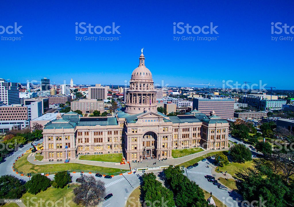 Texas State Capitol Building Aerial View Over Austin TX 2016 stock photo