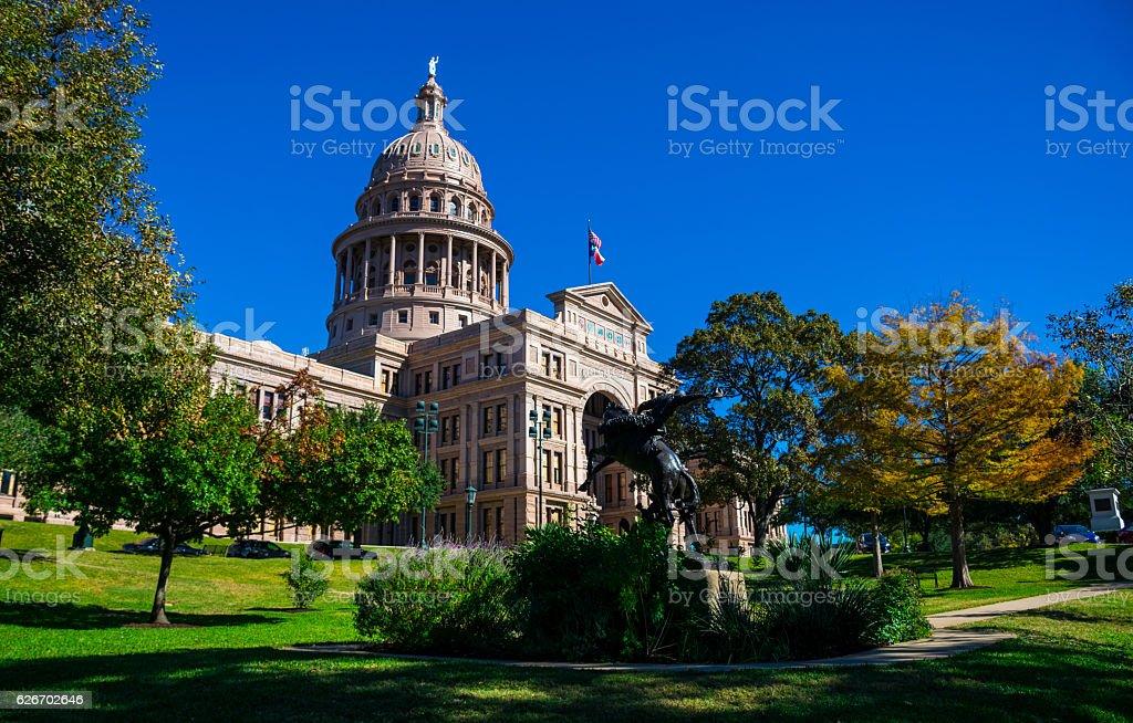 Texas State Capitol Building Autumn Austin Texas Landmark stock photo