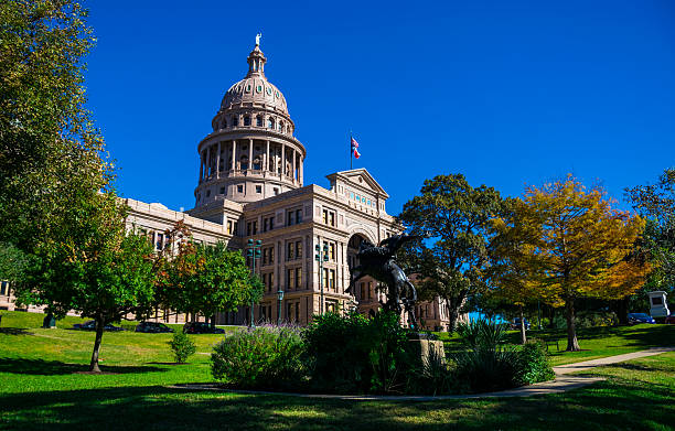 Texas State Capitol Building Autumn Austin Texas Landmark stock photo