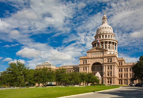 Texas State Capitol Building in Austin, 3/4 view stock photo