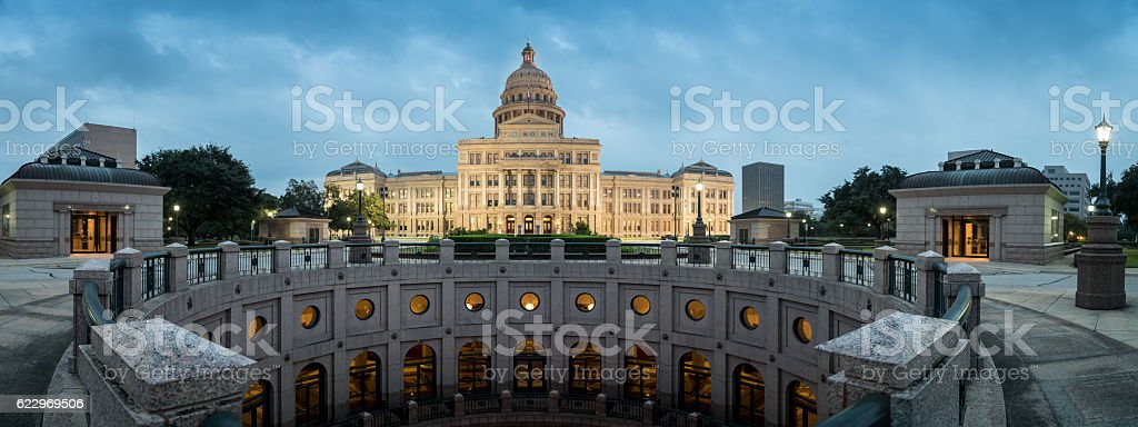 Texas State Capitol Building in Austin at Sunrise stock photo