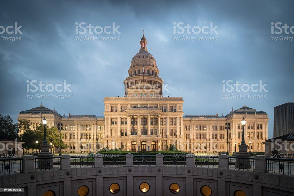 Texas State Capitol Building in Austin Illuminated at Sunrise stock photo