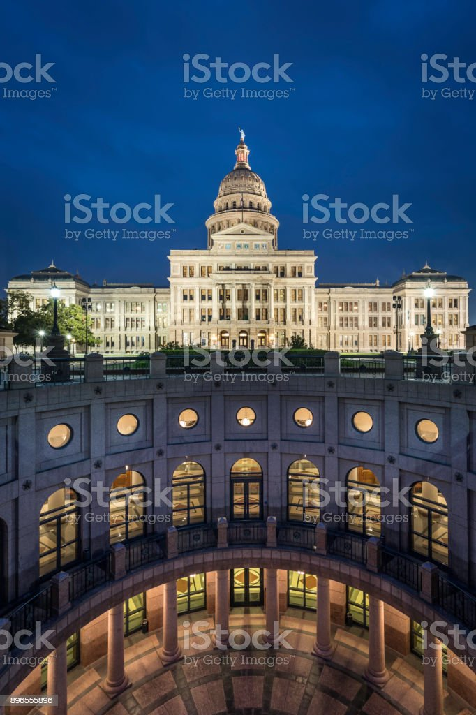 Texas State Capitol Building in Austin Illuminated at Sunrise stock photo
