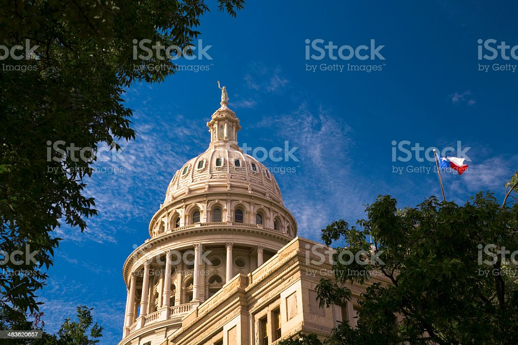 Texas State Capitol Building in Austin with flag stock photo