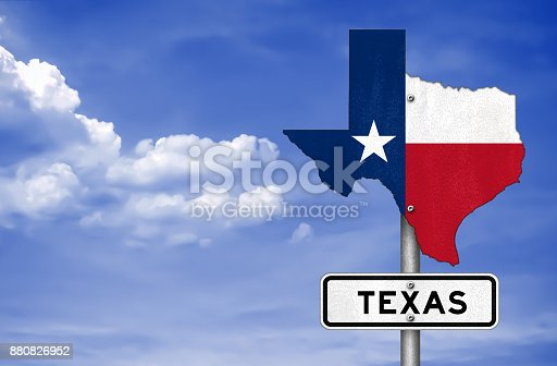 istock Texas state map - road sign 880826952