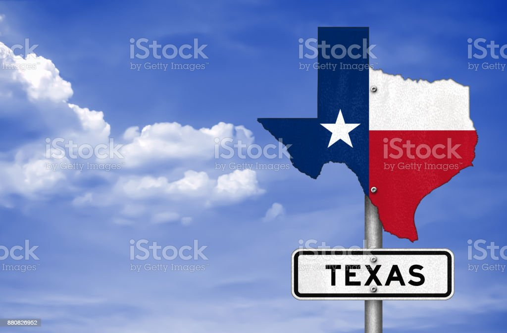 Texas state map - road sign stock photo
