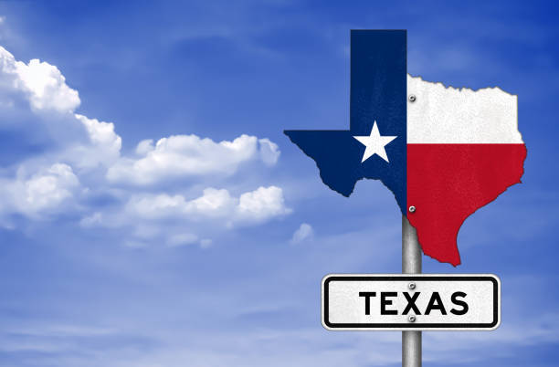 texas zustand-karte - straßenschild - houston texas stock-fotos und bilder