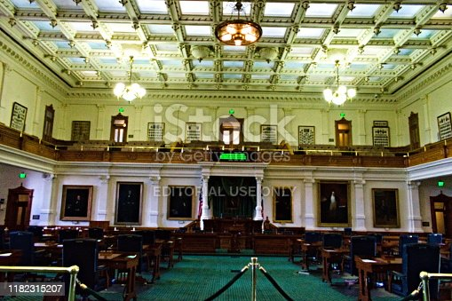 Building interior. Texas State Senate Chamber floor view. Created in Austin, Texas, March 19, 2019
