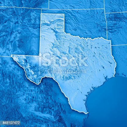 186815169istockphoto Texas State USA 3D Render Topographic Map Blue Border 845107472