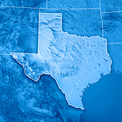186815169 istock photo Texas State USA 3D Render Topographic Map Blue Border 845107472