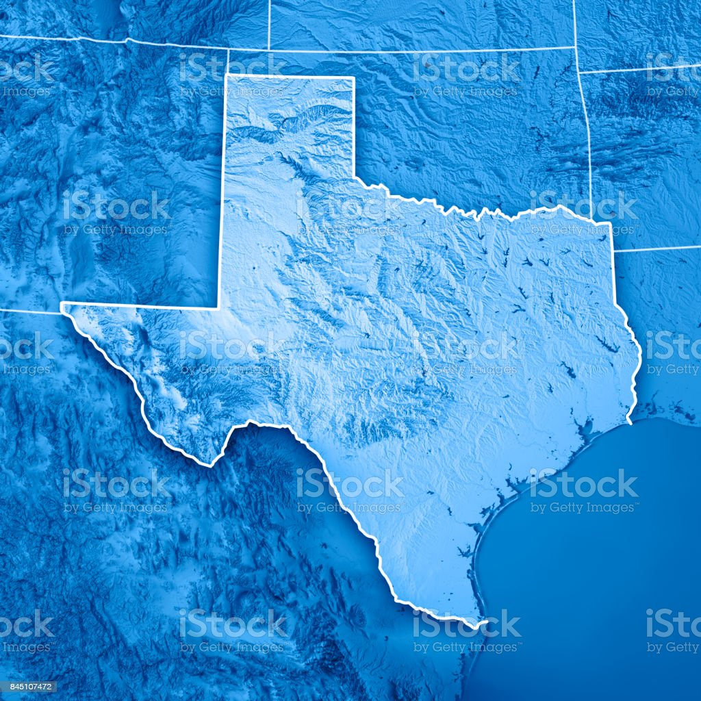 Texas State USA 3D Render Topographic Map Blue Border stock photo